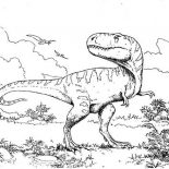 T-Rex, T Rex Intimidating Her Enemy Coloring Page: T Rex Intimidating Her Enemy Coloring Page
