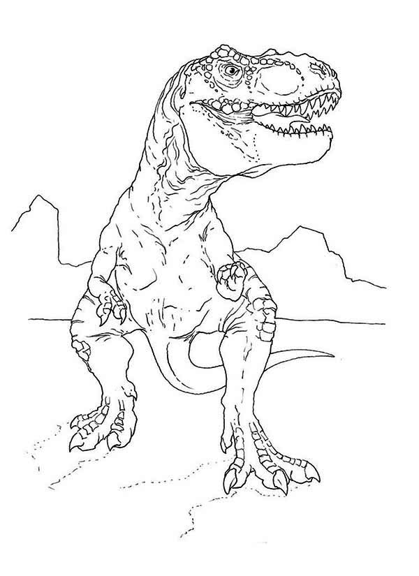 T-Rex, : T Rex Looking for Food Coloring Page
