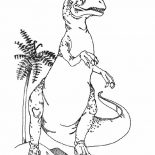 T-Rex, T Rex Standing Taller Than Coconut Tree Coloring Page: T Rex Standing Taller Than Coconut Tree Coloring Page