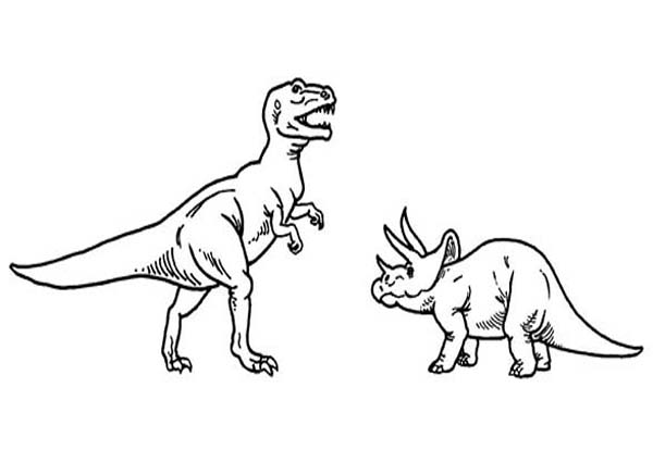 T-Rex, : T Rex Versus Triceratops Coloring Page