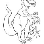T-Rex, T Rex In The Jungle Coloring Page: T Rex in the Jungle Coloring Page