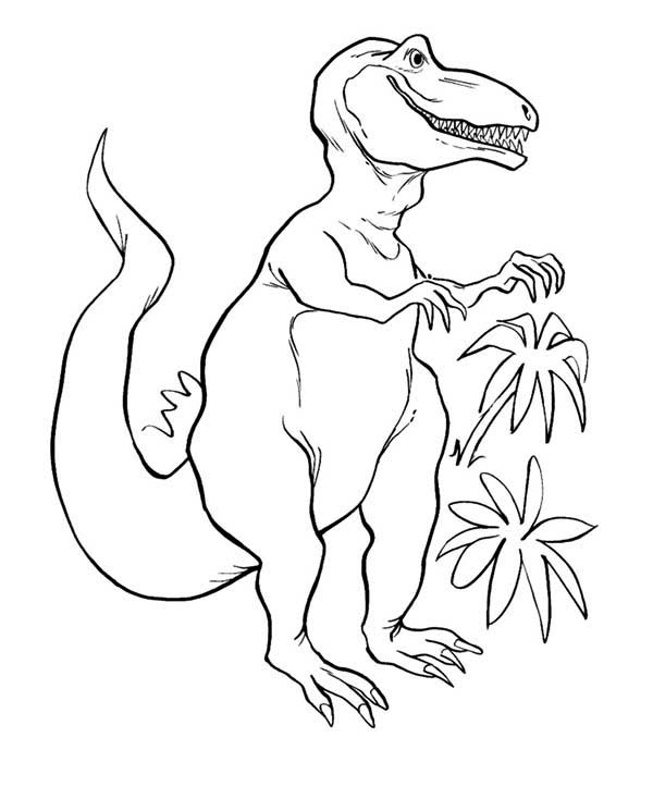 T-Rex, : T Rex in the Jungle Coloring Page