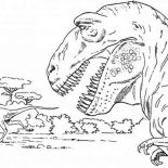 T-Rex, T Rex Is Going Hunting Coloring Page: T Rex is Going Hunting Coloring Page