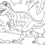 T-Rex, T Rex Is Very Strong Dinosaurus Coloring Page: T Rex is Very Strong Dinosaurus Coloring Page