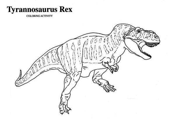 T-Rex, : T Rex is for Tyrannosaurus Coloring Page