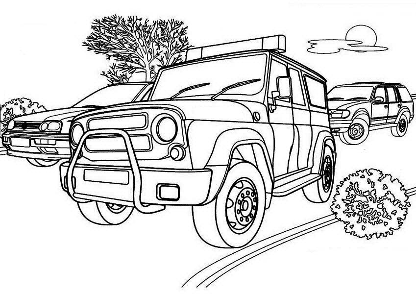 Police Car, : Tactical Team Police Car Coloring Page