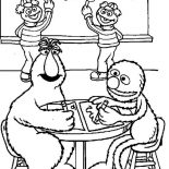 Sesame Street, Telly Monster And Grover Learnig Math In Sesame Street Coloring Page: Telly Monster and Grover Learnig Math in Sesame Street Coloring Page