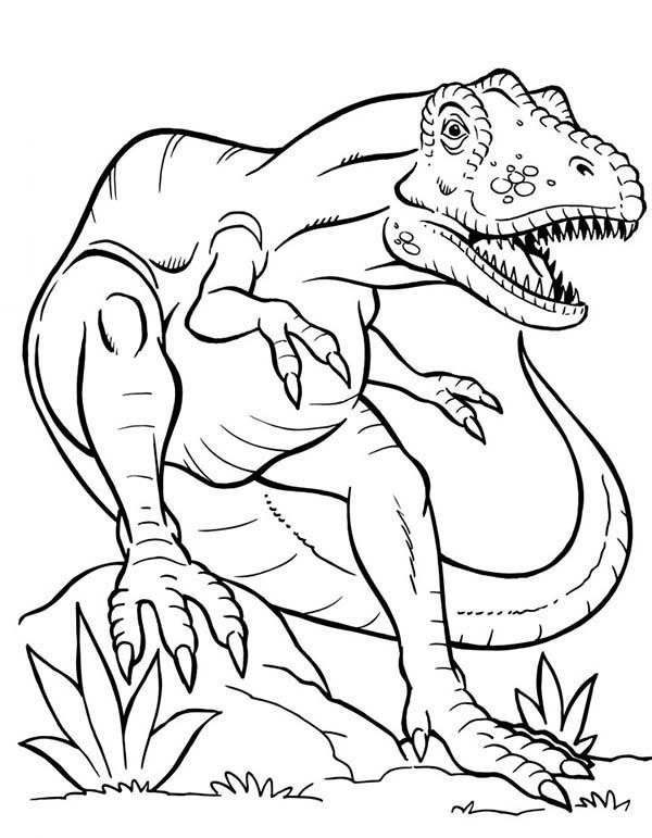 T-Rex, : Terrifying Dinosaurus T Rex Coloring Page