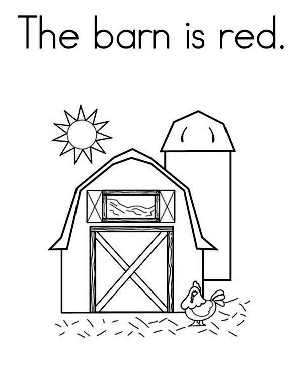 Barn, : The Barn is Red Coloring Page