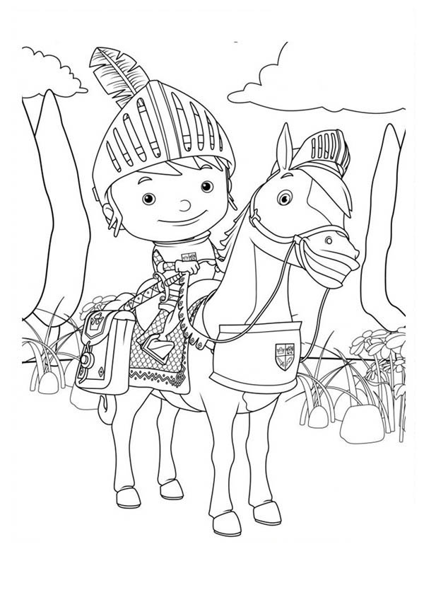Mike the Knight, : The Brave Mike the Knight Coloring Page