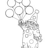 Clown, The Clown Has Six Balloon Coloring Page: The Clown Has Six Balloon Coloring Page