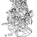 Sailor Moon, The Guardian Senshi Sailor Moon Coloring Page: The Guardian Senshi Sailor Moon Coloring Page