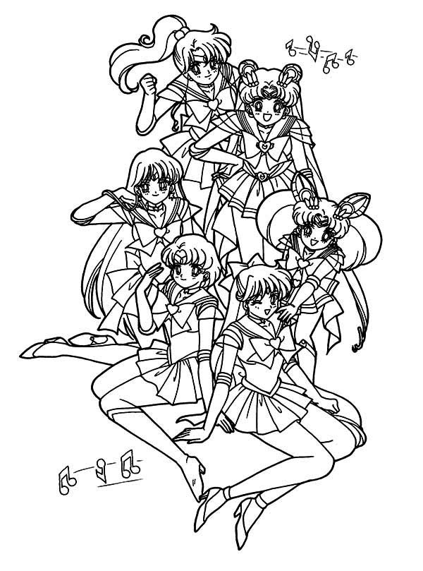 Sailor Moon, : The Guardian Senshi Sailor Moon Coloring Page