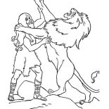 Samson, The Legendary Fight Samson With A Lion Coloring Page: The Legendary Fight Samson with a Lion Coloring Page