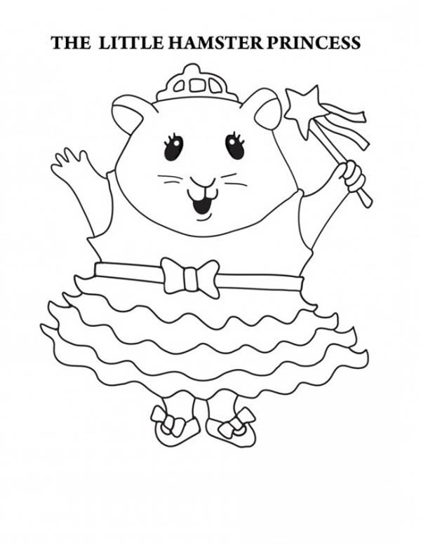 Guinea Pig, : The Little Hamster Princess in Guinea Pig Coloring Page