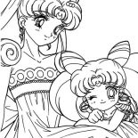 Sailor Moon, The Loving Sailor Moon And Sailor Chibi Moon Coloring Page: The Loving Sailor Moon and Sailor Chibi Moon Coloring Page