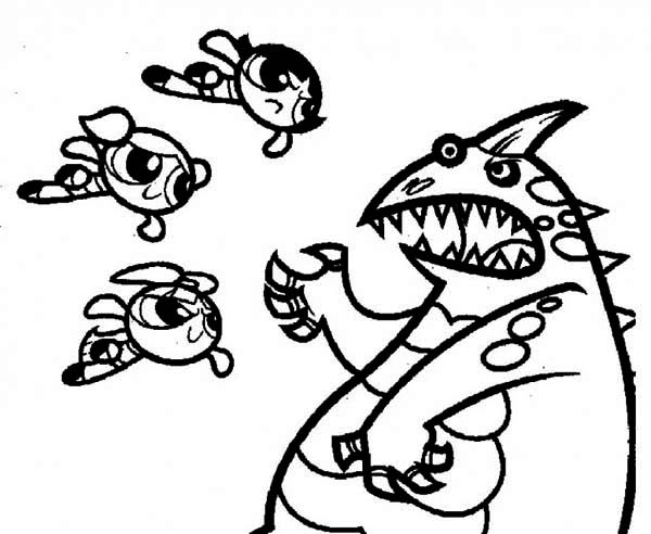 The Powerpuff Girls, : The Powerpuff Girls Fight with Giant Monster Coloring Page