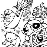 The Powerpuff Girls, The Powerpuff Girls Playtime Fun At Pokery Oaks Coloring Page: The Powerpuff Girls Playtime Fun at Pokery Oaks Coloring Page
