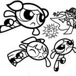 The Powerpuff Girls, The Powerpuff Girls Punching Mojo Jojo Coloring Page: The Powerpuff Girls Punching Mojo Jojo Coloring Page
