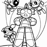 The Powerpuff Girls, The Powerpuff Girls And Robot Of Bubbles Coloring Page: The Powerpuff Girls and Robot of Bubbles Coloring Page