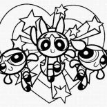 The Powerpuff Girls, The Powerpuff Girls Is Full Of Love Coloring Page: The Powerpuff Girls is Full of Love Coloring Page