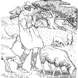 Middle Ages, The Shepherd Of Lambs In Middle Ages Coloring Page: The Shepherd of Lambs in Middle Ages Coloring Page
