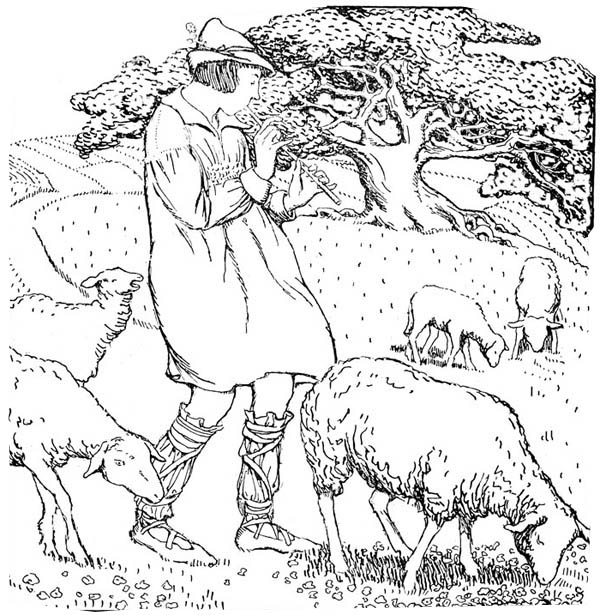 Middle Ages, : The Shepherd of Lambs in Middle Ages Coloring Page
