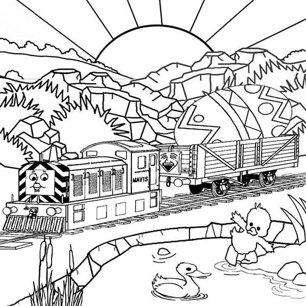 Railroad, : Thomas the Tank Engine Carrying Easter Egg on Railroad Coloring Page