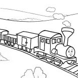 Railroad, Thomas The Train On Railroad Coloring Page: Thomas the Train on Railroad Coloring Page