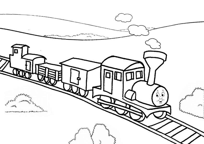 Railroad, : Thomas the Train on Railroad Coloring Page