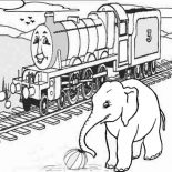 Railroad, Thomas The Train On Railroad And Elephant Coloring Page: Thomas the Train on Railroad and Elephant Coloring Page
