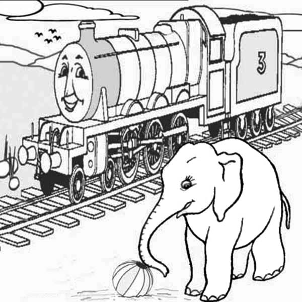 Railroad, : Thomas the Train on Railroad and Elephant Coloring Page