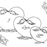 Hearts & Roses, Three Hearts And Roses Coloring Page: Three Hearts and Roses Coloring Page