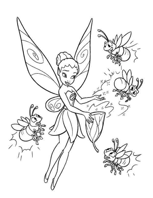 Firefly, : Tinkerbell and Four Firefly Coloring Page