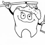 Dental Health, Tooth Brushing Himself In Dental Health Coloring Page: Tooth Brushing Himself in Dental Health Coloring Page