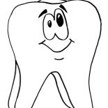 Dental Health, Tooth Is Smiling In Dental Health Coloring Page: Tooth is Smiling in Dental Health Coloring Page