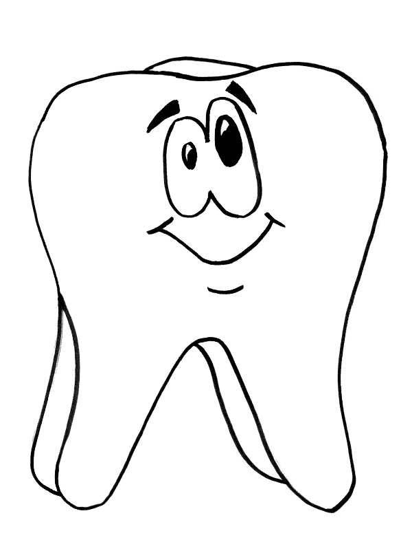 Dental Health, : Tooth is Smiling in Dental Health Coloring Page