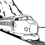 Trains, Train Came Out From A Tunnel Coloring Page: Train Came Out from a Tunnel Coloring Page