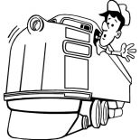 Railroad, Train Engineer Looking For Railroad Coloring Page: Train Engineer Looking for Railroad Coloring Page