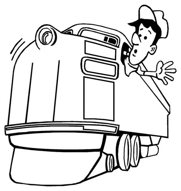 Railroad, : Train Engineer Looking for Railroad Coloring Page