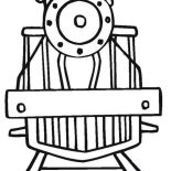 Trains, Train Picture From Front Angle Coloring Page: Train Picture from Front Angle Coloring Page