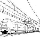 Trains, Train On Electric Cable Coloring Page: Train on Electric Cable Coloring Page