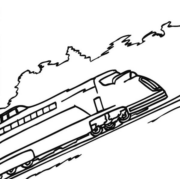 Trains, : Train on Uphill Railroad Coloring Page
