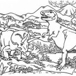 T-Rex, Triceratops Attacking T Rex Coloring Page: Triceratops Attacking T Rex Coloring Page