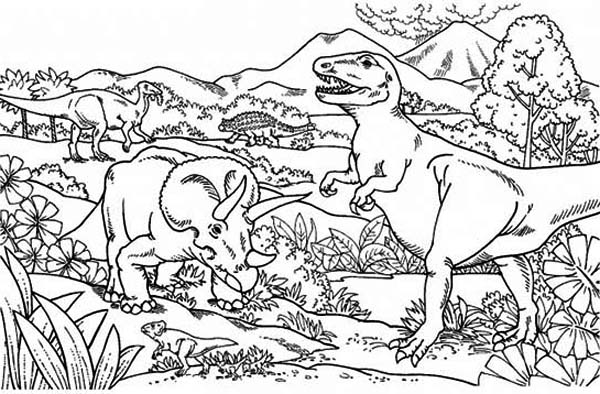 T-Rex, : Triceratops Attacking T Rex Coloring Page