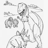 T-Rex, Triceratops Defending Her Children From T Rex Coloring Page: Triceratops Defending Her Children from T Rex Coloring Page