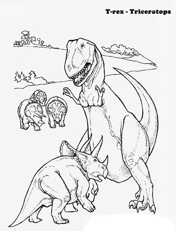 T-Rex, : Triceratops Defending Her Children from T Rex Coloring Page