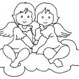 Angels, Twin Angels Coloring Page: Twin Angels Coloring Page