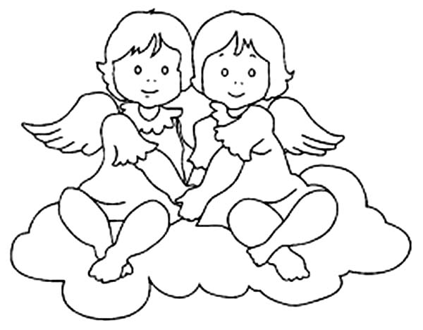 Angels, : Twin Angels Coloring Page