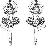 Ballerina, Twin Ballerina Coloring Page: Twin Ballerina Coloring Page